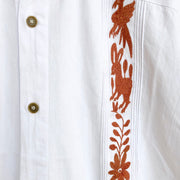 Men's White and Burnt Orange Guayabera