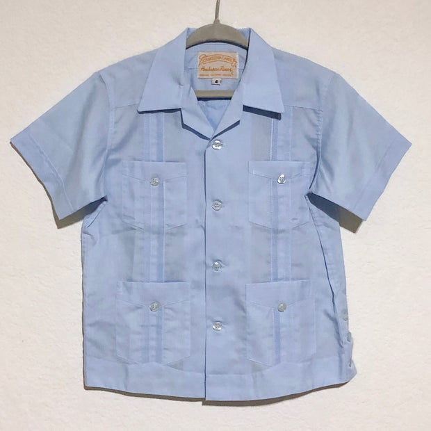 Mijo Solid: Boy's Solid Guayabera (Light Blue)