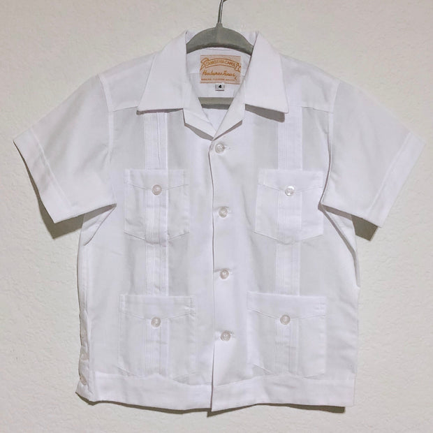 Mijo Solid: Boy's Solid Guayabera (White)