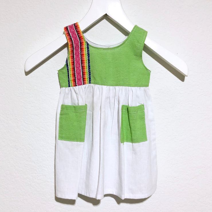 Julia Light Green Apron Dress with White Skirt (Size 1)