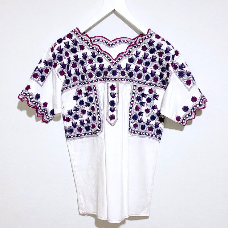 Women's Navy and Purple Scalloped Tierra Blouse