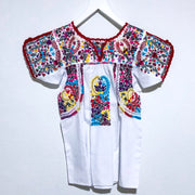 White and Red Bright Multicolor Antonia I Short Sleeve Blouse (XS)
