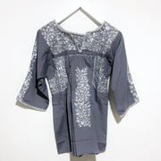Grey with Platinum Antonia III Long Sleeve Blouse (Small)