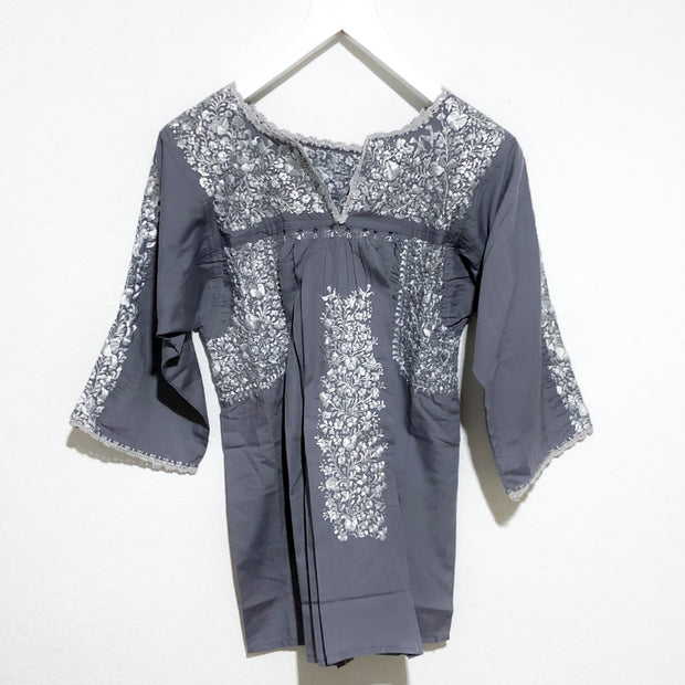 Grey with Platinum Antonia III Long Sleeve Blouse (Medium)