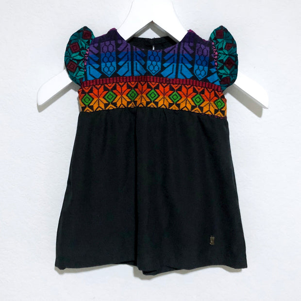 Coucou Black Flutter Sleeve Dress with Multi