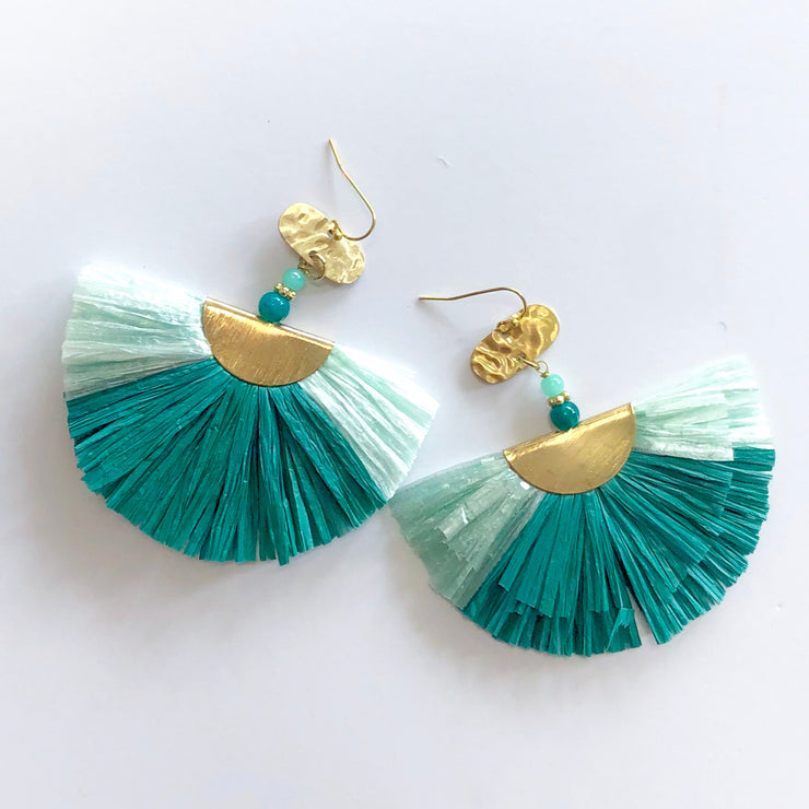 Aqua and Green Raffia Fan Earrings