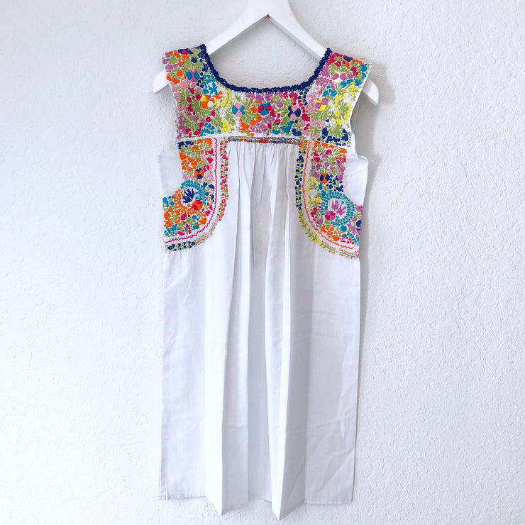 White Multi & Blue Antonia II Sleeveless Dress
