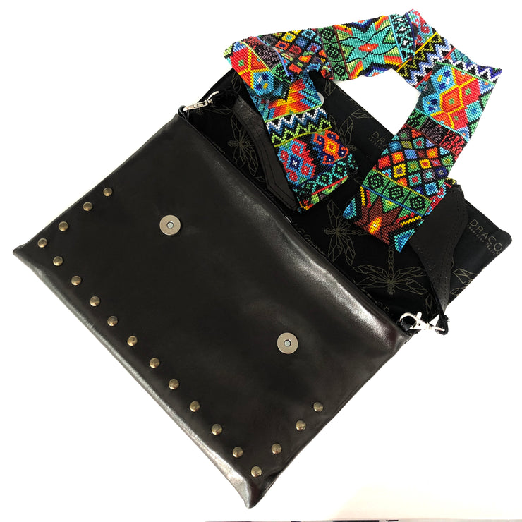 Black Leather Crossbody with Beaded Strap