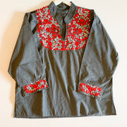 Chambray Long Sleeve Antonia Blouse with Red/White Embroidery (Large)