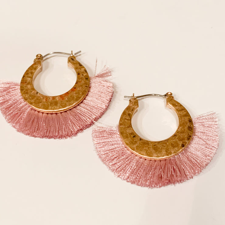 Small tassel hoop earrings (Lavender)