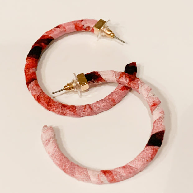 Fabric wrapped hoop earrings (Red)