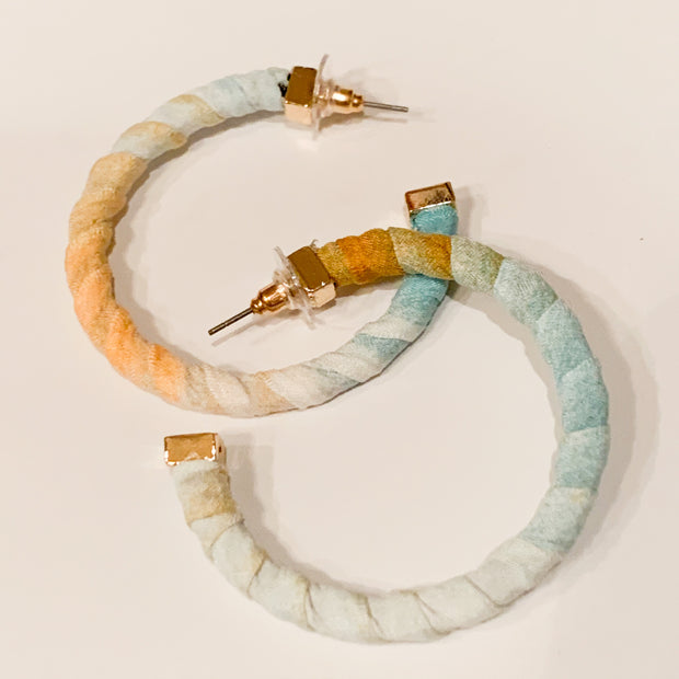 Fabric wrapped hoop earrings (Peach/Mint)