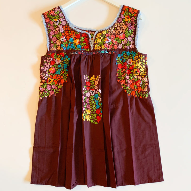 Burgundy/Multi Sleeveless Antonia Blouse (Medium)