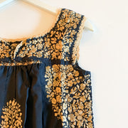 Dark Navy/Gold Sleeveless Antonia Blouse (XS)