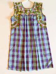 Purple & Blue Plaid/Multi Sleeveless Antonia Dress (Medium)