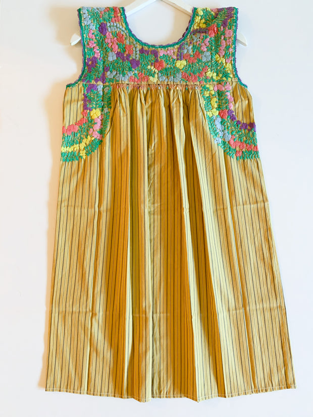 Mustard Pinstriped/Multi Sleeveless Antonia Dress (Small)