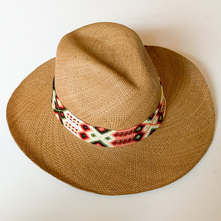 Panama Hat with Cocoa Toquila & Melon, Hunter Green & White Band