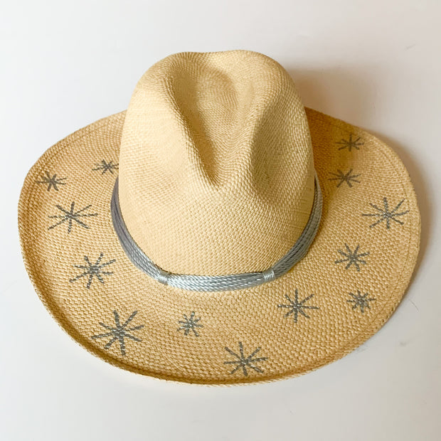 Panama Hat with Natural Toquila Weave & Silver Stars