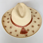 Panama Hat with Natural Toquila Weave & Rose Gold Stars