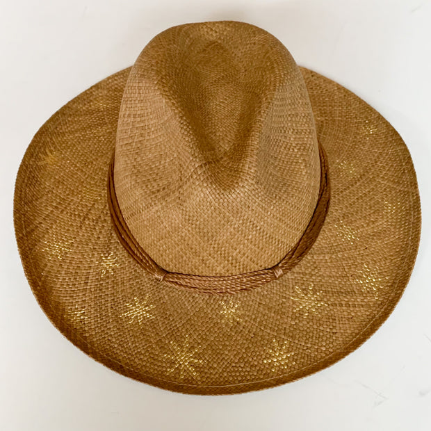 Panama Hat with Cocoa Toquila Weave & Gold Stars
