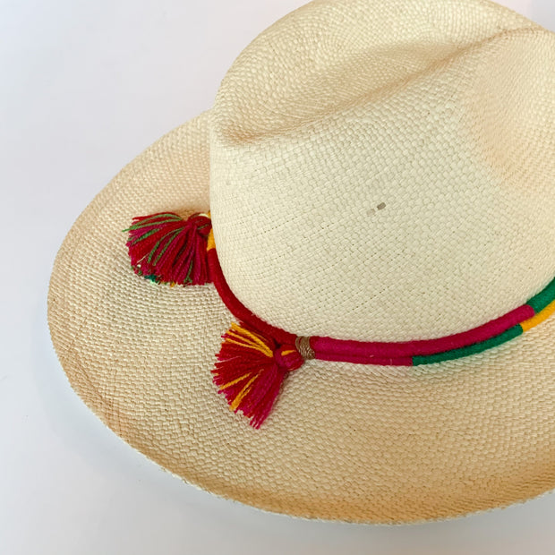 Panama Hat with Natural Toquila & Yellow, Green & Magenta Band (Woven)