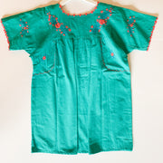 Turquoise/Pink Short Sleeve Antonia Blouse (Medium)
