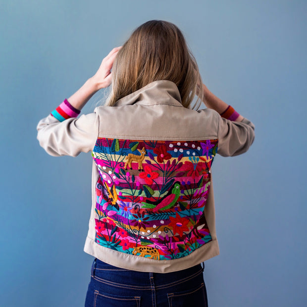 Tan Bomber Jacket with Chiapas Striped Rainbow Embroidery (Assorted Sizes)