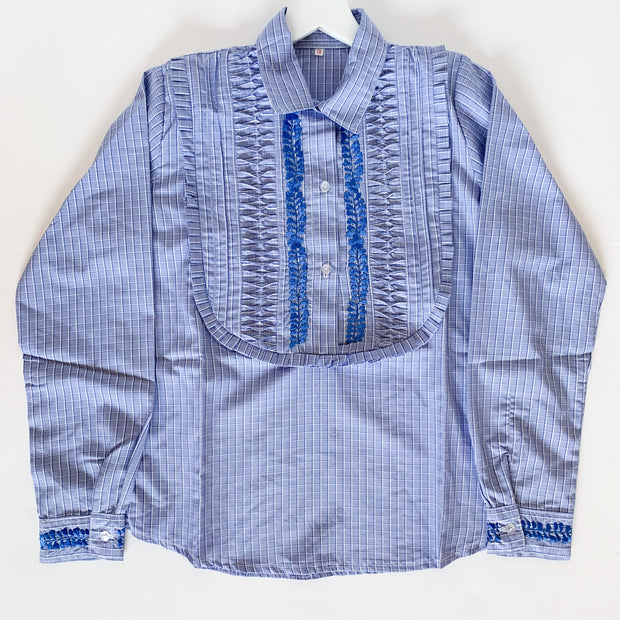Blue Plaid Long Sleeve Bib Blouse with Blue (Small)