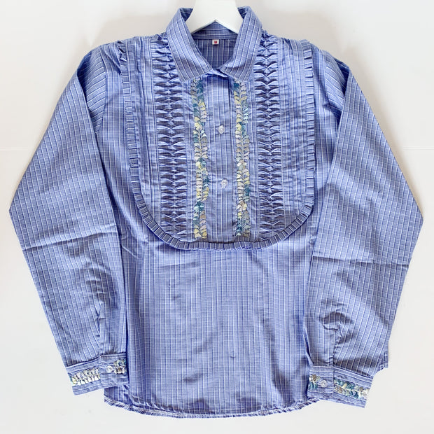 Blue Plaid Long Sleeve Bib Blouse with Multi (Medium)