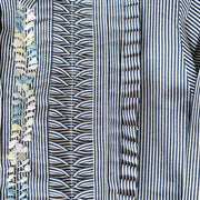 Blue/White Pinstripe Long sleeve Bib Blouse with Multi (Assort Sizes)
