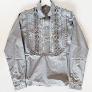Grey/White Pinstripe Long sleeve Bib Blouse with Multi (Assort Sizes)