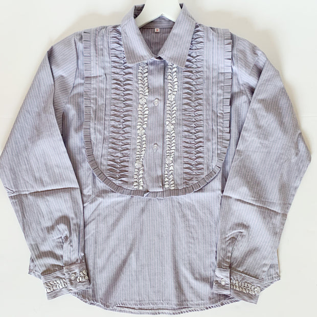 Grey/Pink Pinstripe Long sleeve Bib Blouse with Silver (Small)