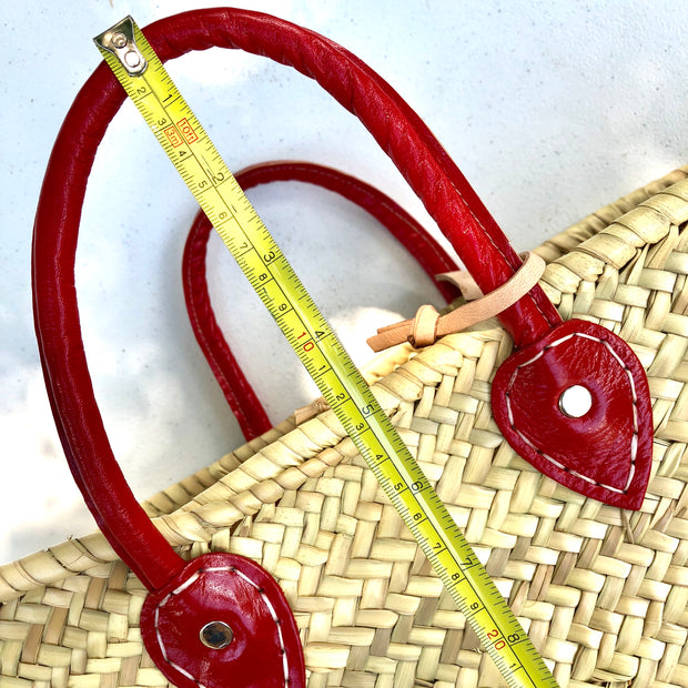 Woven Tote Bag with Red Leather Handles
