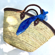 Woven Tote Bag with Chocolate Brown Leather Handles