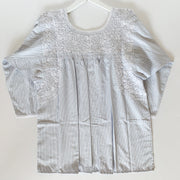 Light blue/brown Pinstriped 3/4 Sleeve Antonia Blouse with White Embroidery (Medium)