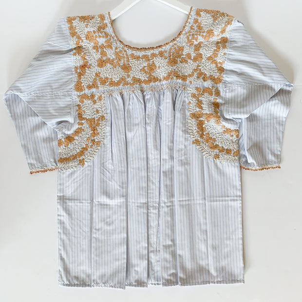 Light blue/brown Pinstriped 3/4 Sleeve Antonia Blouse with Beige/Spice Embroidery (Medium)