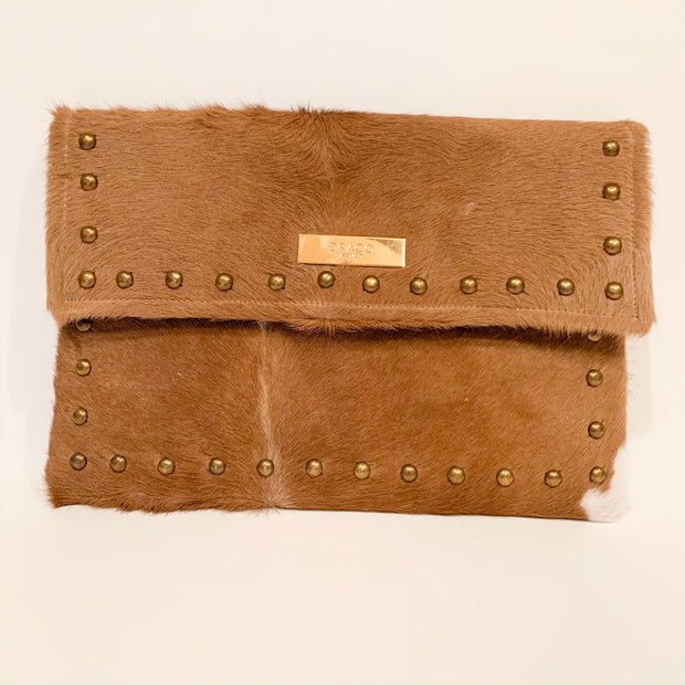 Studded Clutch (White and Brown)