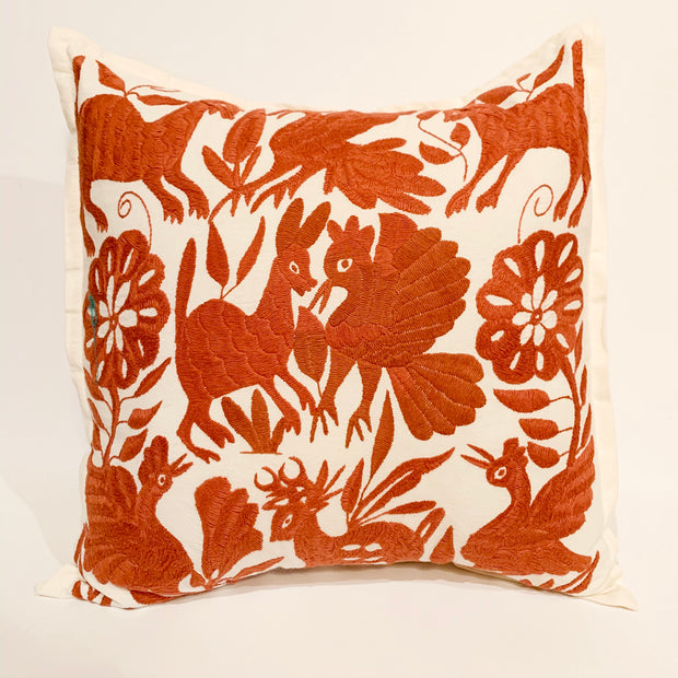 Burnt Orange Otomi Pillow