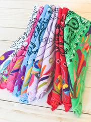 Neck scarf with Otomi Embroidery (Assorted Colors)