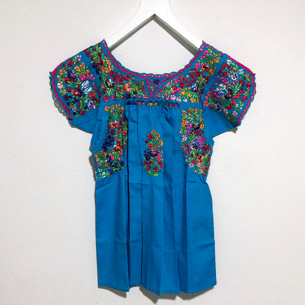 Turquoise and Pink Multicolor Antonia I Short Sleeve Blouse