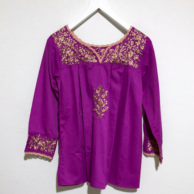Fuchsia and Gold Antonia III Long Sleeve Blouse (Small)