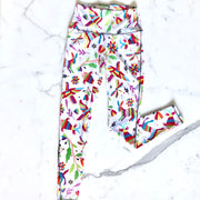 Women's Yoga Tights in Otomi Fabric (White)