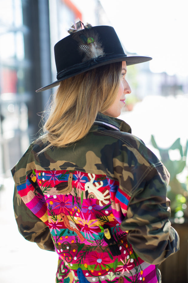 Oversized Camo Jacket with Rainbow stripe Embroidery
