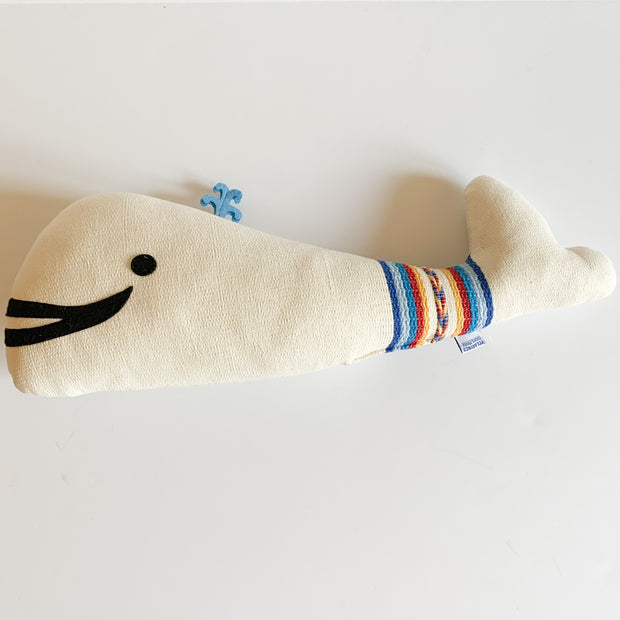 Children's White and Multi Fabric Whale
