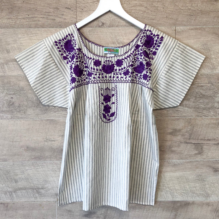 Grey Pinstripe Short Sleeve Blouse with Purple