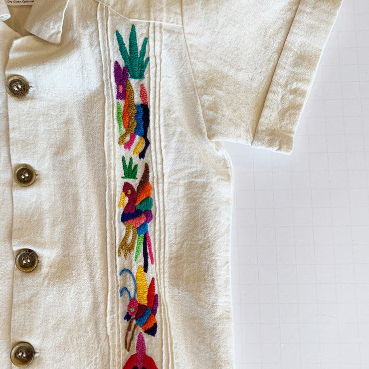 Mijo Multi: Boy's Natural Guayabera with Multicolor Embroidery
