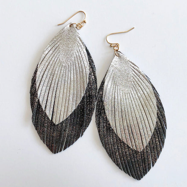 Charcoal and Silver Leather Feather Earrings