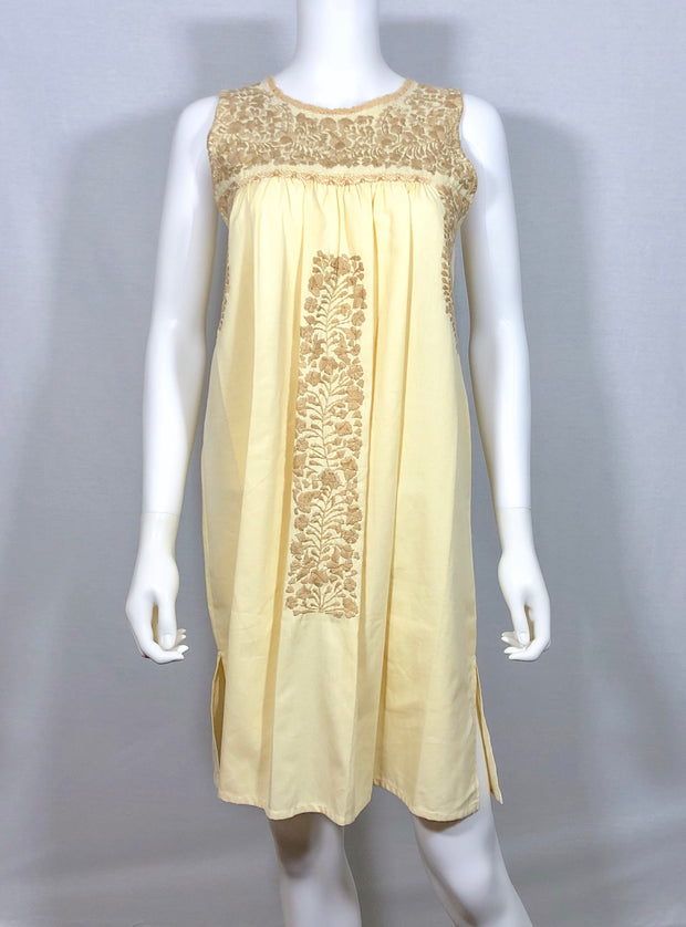 Light Yellow and Tan Flaca Round Neck Sleeveless Dress (Medium)