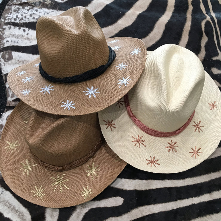 Panama Hat with Cocoa Toquila Weave & Silver Stars