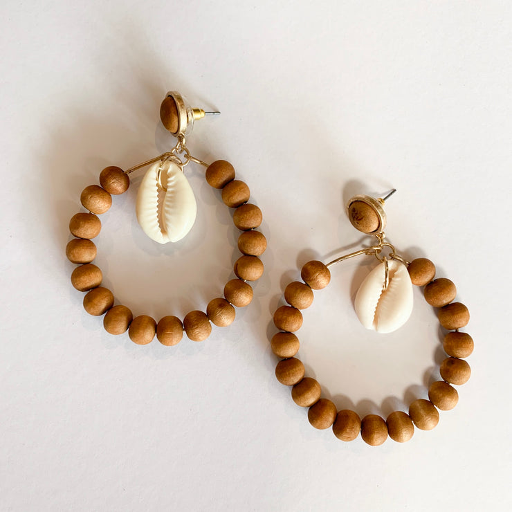Brown Wooden Beaded Hoop Earrings with Shell